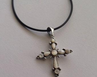 Christening Gift Ideas - Nacre Cross Pendant Cruz Nacar - Cross Necklace - White Cross Pendant, Sterling Silver Cross, Mother of Pearl Cross