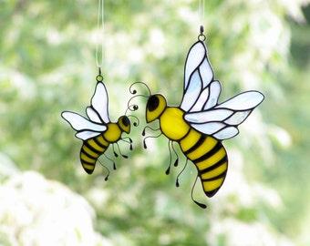 Noney Bee Stained Glass, Bee Suncatcher, Honey Bee Pendant, Home and Garden Ornament, Beekeeper Gift, Bumble Bee Necklace, Window Art