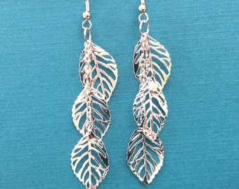Silver Leaf Earrings / Skeleton Leaf Jewelry / Cascading Leaf Drop Earrings / Delicate Leaf Earrings / Dramatic Leaf Earrings