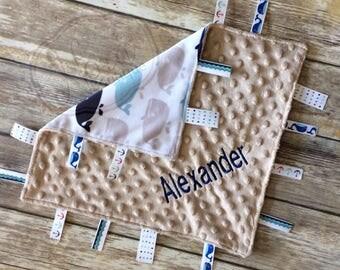 Personalized Baby Lovey - Tag Blanket - Ribbon Lovey - Whale Blankie- Sensory Ribbon Lovey