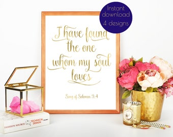Song of Solomon print, I have found the one, Song of Solmon 3 4, I have found the one whom my soul loves, Bible verse print wedding, #ELISE