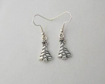 Christmas Tree earrings, stocking filler gift for her, secret santa gift for her, festive spirit gift, sterling silver earrings
