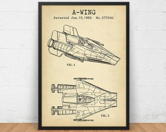 A Wing Fighter, Star Wars Patent Prints, Digital Download, Boys Room Decor, Star Wars Gift for Kids, Sci-Fi decor, Movie Wall Art, Printable