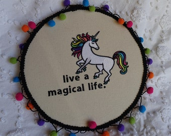 Unicorn Wall Hanging | Hooped Embroidery | Embroidered Home Decor | 10in