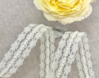 "Ivory Lace & Pearl Trim - 25mm / 1"" Flower Lace and Beaded Pearl Embellishment - Wedding - Pretty Bridal Trim - Stiff Lace Embellishment"