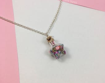 Kawaii Rainbow Fun Star Bottle Pendant Necklace
