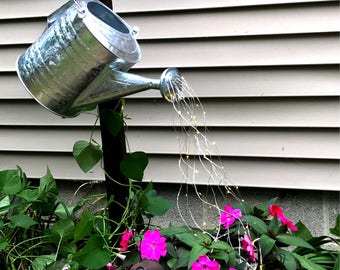 Lighted watering can-fairy lights watering can-light up garden decor-galvanized watering can-ready to ship-metal watering can-fairy lights