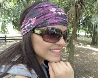 Lotus Wide Headband, Yoga Pink Headband, Running Headband, Fitness Headband, Women Headband, Jersey Hippie Headband, Wide Bohemian Turban