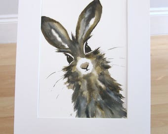 ORIGINAL PAINTING - Hare Art Work Gift, Hare Painting, Animal Art, Animal Painting, Wildlife Art, Signed Painting, Wall Art Gift, Brown Hare