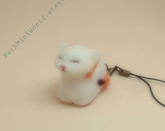 Pendant- Charm- Needle felted Cat  Miniature- Cell Phone, Bag, Purse,...Gift for her-Gift-Ooak- Ready to Ship