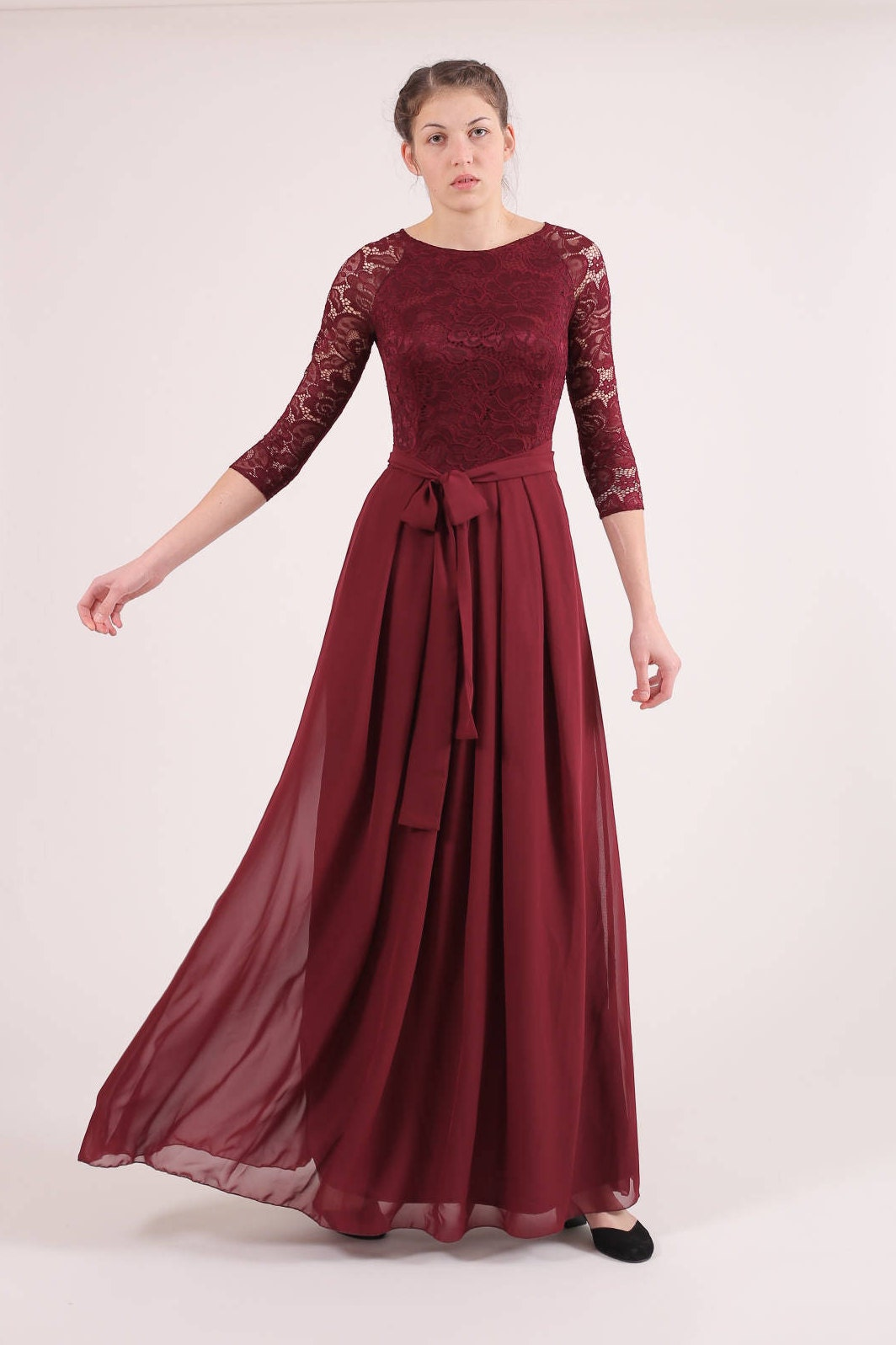 Long burgundy bridesmaid dress with sleeves bridesmaid dress zoom ombrellifo Gallery