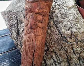 Carved wood spirit, recycled natural wood sculpture, hand carved, wood art, rustic decoration, forest spirit gift