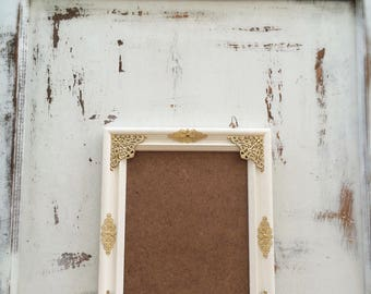 8x10 Wedding Picture Frame, Wood, Antique White, Gold, Shabby Chic, Ornate, Photo Frame, French Country Cottage, Nursery, Home, Wall Decor
