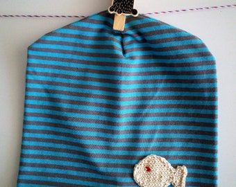 Blue striped cotton cap with fish