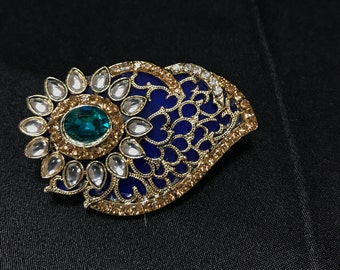 Blue Gold Brooch - Indian Brooch - Indian Bridal - Indian Accessories - Saree Accessories - Pakistani Jewelry - Pakistani Bridal - Saree Pin