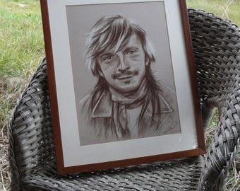 """Renaud Portrait original encadré dessin dans les tons brun 30x40cm 12x16"""" portrait cadeau pour fan de Renaud"""