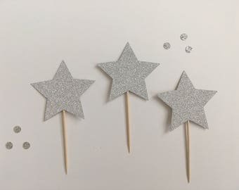 Glitter Star Cupcake Toppers, Silver Glitter Star Cupcake Toppers, Star Cake Toppers, Star Food Picks, Star Toppers