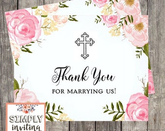Thank You For Marrying Us, Officiant Thank You Card, Thank You Wedding Card, Card to Priest, Card To Judge, Officiant Wedding Thanks