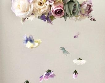 Flower Mobile, Nursery Mobile, Baby Girl Mobile, Butterfly Mobile, Floral Mobile, Rustic Mobile, flower chandelier