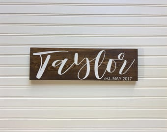 Name Wood Sign, Last Name Wood Sign, Family Name Wood Sign, Custom Wedding Gift,  Family Established Sign, Housewarming Gift, 5.5x18