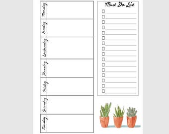 Weekly planner page|Must do list|Printable|Instant Download PDF|Agenda|Cactus calendar|Succulents|Cute|To Do list|A4,A5,Half Letter,Whole|