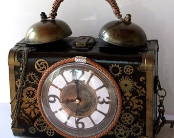 steampunk bag Working alarm clock