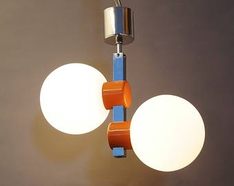 Space Age pendant lamp, ceiling lamp, lamp, Germany 70s, chrome and glass, Ball lamp, 1970 's vintage interior, Europe