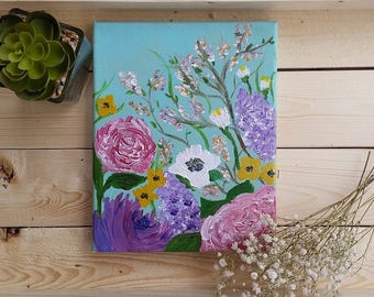 Floral Garden Giclee Art Print of Acrylic Painting | 8x10 & 5x7 Sizes Available!