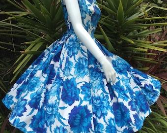 Blue Dahlia 1950's Vintage Vibrant Floral Summer Cotton Dress.