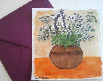 """Card """"Pot flowers and herbs"""" """"handpainted in watercolor"""""""