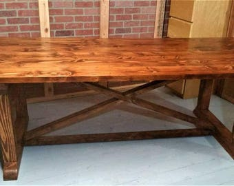 Large Refectory Dining Table, Country Furniture, Rustic Farmhouse Decor