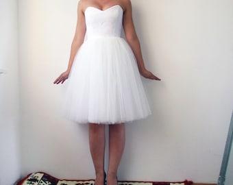 Short Tulle Wedding Dress, Reception dress, Wedding dress, Bridesmaid dress, white lace dress, lace dress, elegant white lace dress, bridal