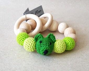 Teddy Bear Rattle Crochet Teething Toy Wooden Beads Rattle Natural Teether Wooden Teething ring Green Sensory Toy Amigurumi Crocheted Rattle
