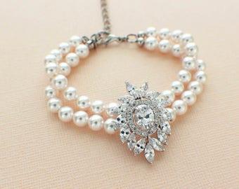 Pearl bracelet, wedding bracelet, CZ pearl bridal bracelet, Swarovski pearl, 2 strand, cubic zirconia, bridal jewelry, wedding jewelry
