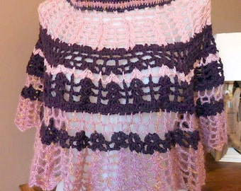 Short crochet poncho pink and purple wools