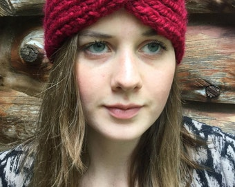 ladies headband, wool/acrylic knitted headband, red knitted headband, fall/winter accessories, cable knitted headband