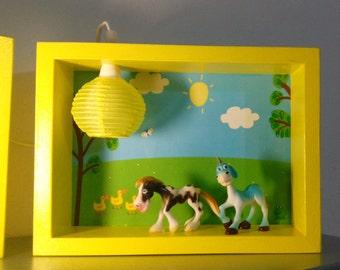 "Night light ""Farm Animals"" - Room decor, Girl and Βoy, led box, handmade kid light"