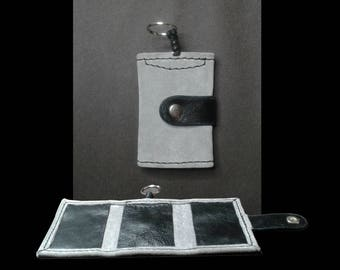 Key and grey and black leather card holder