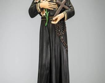"RARE 17"" Saint Gerard Majella Polychromed Plaster Statue Vintage St Figure"
