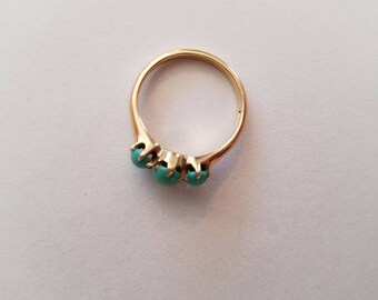14 K gold and turquoise ring