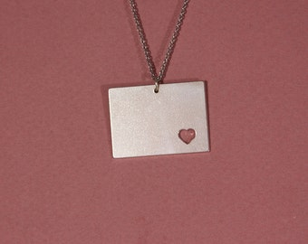 Wyoming necklace Wyoming state necklace sterling silver state of Wyoming pendant heart Wyoming necklace Wyoming map