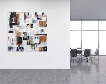 Original Abstract Painting, Graffiti Art, Black and White Painting, Wall Art, original Painting, Grey Painting