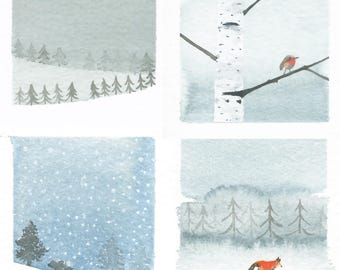 Happy New Year Card, Paper Goods, Holiday Card Set, Stationery, Woodland Animals Wilderness Card Set, Snow, Winter Landscape Tree