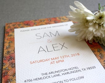 Printable Wedding Invitation and RSVP Template - Orange Blossoms