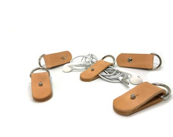 Leather Cable Holder   Earphone Holder Headphone CORD Holder cord keeper iphone cord wrap earbud   HANDMADE