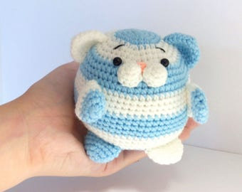Cute striped chubby cat amigurumi-Funny chubby crocheted toy-Softtoy cute cat amigurumi-Cute gift for catlover