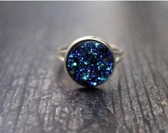 Beautiful Mermaid Blue Druzy Crystal Ring 12mm