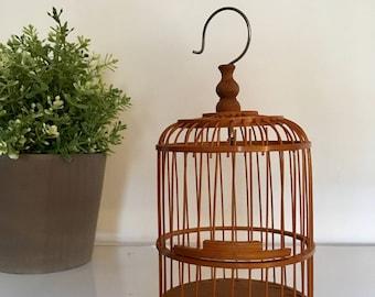 Vintage Miniature Wooden Bird Cage Decor Mini Small Hook Hang