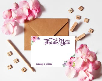 Floral Thank You Cards Wedding, Rustic Thank You Cards, Wedding Thank You Cards Printable, Personalized Thank You Cards Template