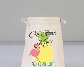 Bachelorette Party Hangover Kit,  Oh Sh*t Kit, Pineapple Bag, Drawstring Mini Favor Bags,  Wedding Part Favor